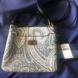 Ralph Lauren Cross Body Black and White Paisley